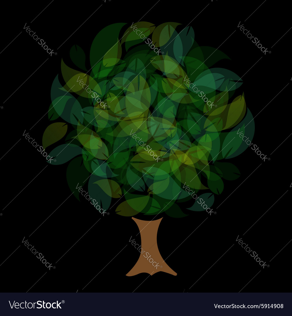 Tree with leaves in shades of green
