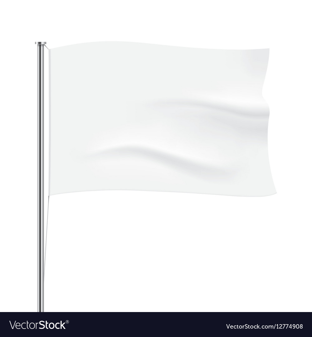 Waving white flag template vector image
