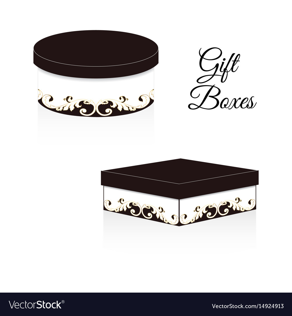 A set of two elegant gift boxes round and square vector image
