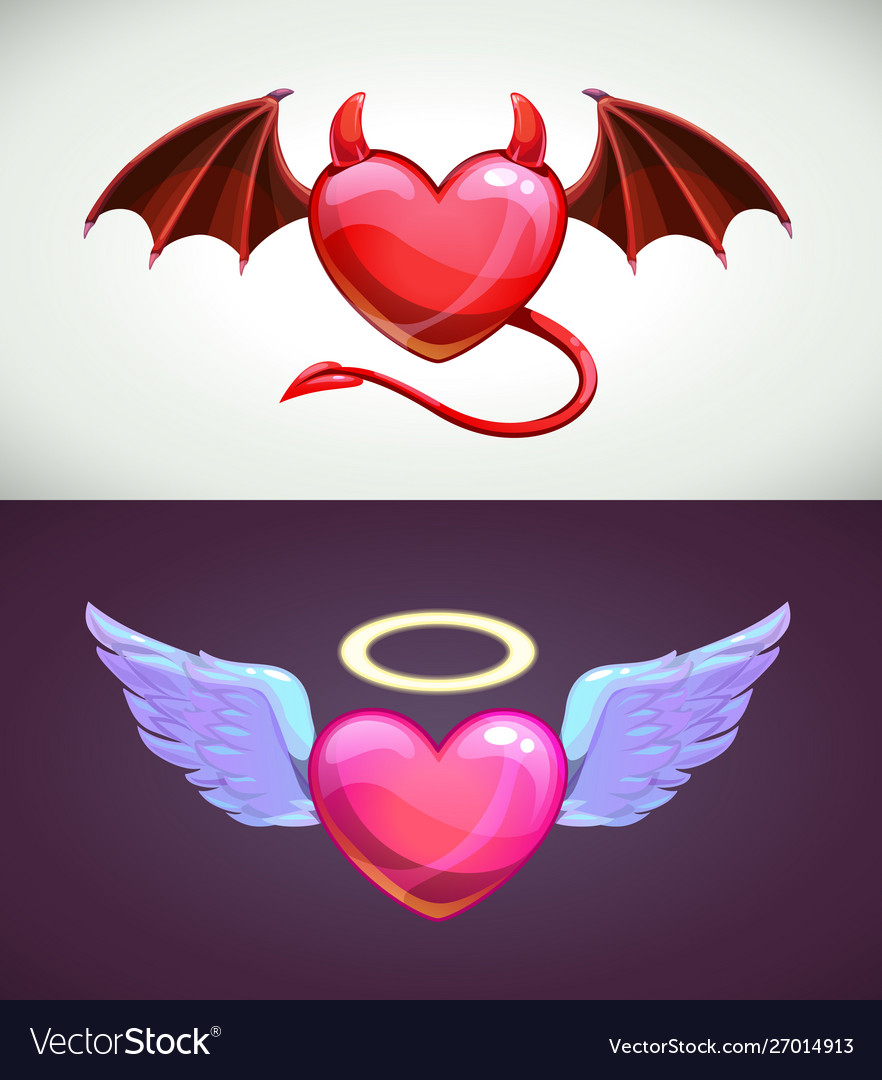 Angel and devil hearts love concept icons
