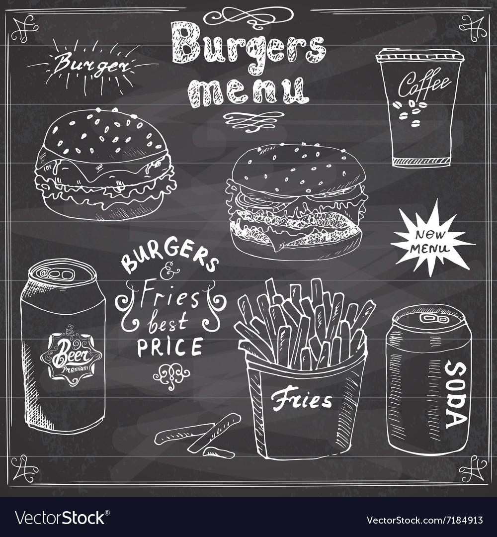 Burger menu hand drawn sketch fastfood poster