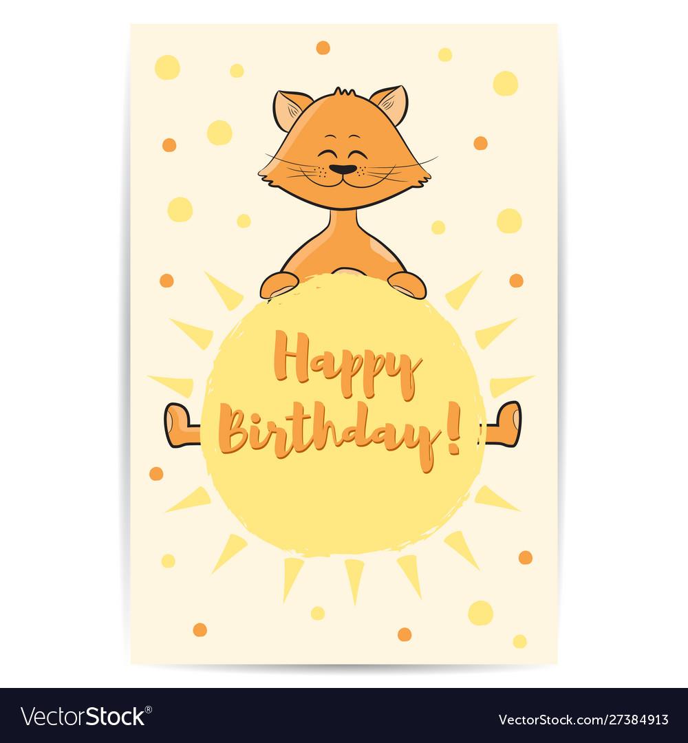 Cute cartoon cat with sun in hands happy birthday