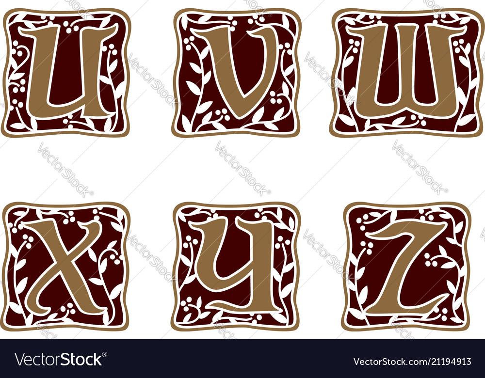 Decoration letter u v w x y z logo design