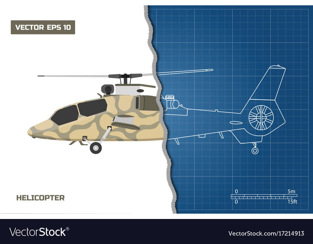 Engineering blueprint of military helicopter