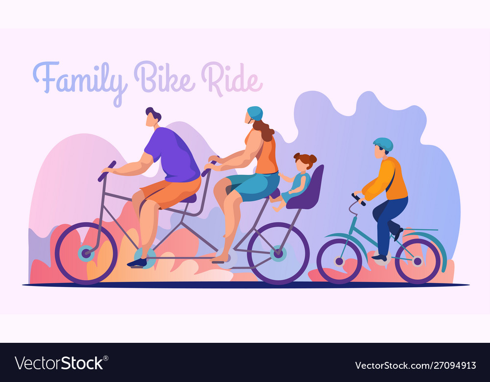 Family bike ride flat banner template