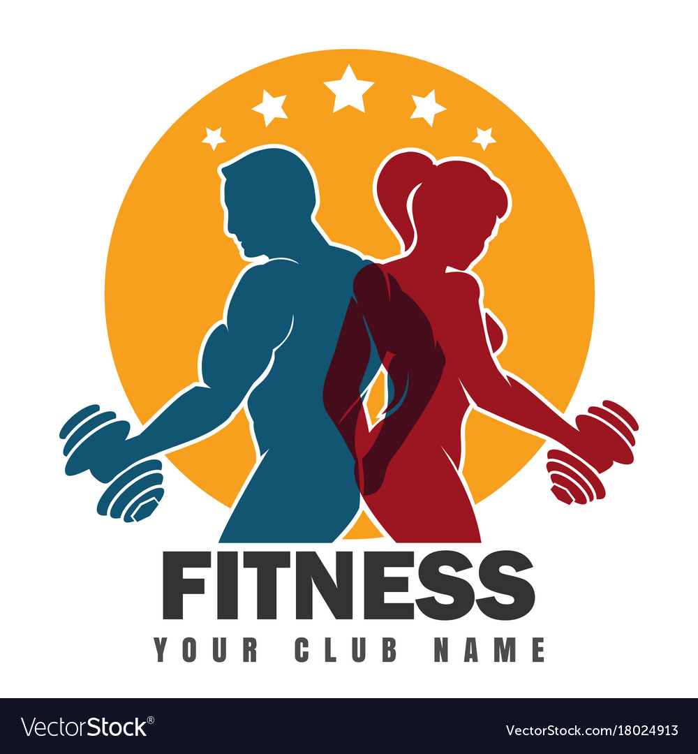 Fitness club emblem with training bodybuilders