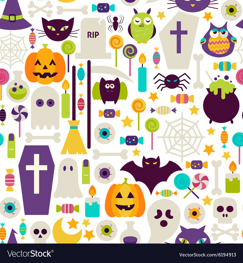 Flat Halloween Holiday Objects Seamless Pattern