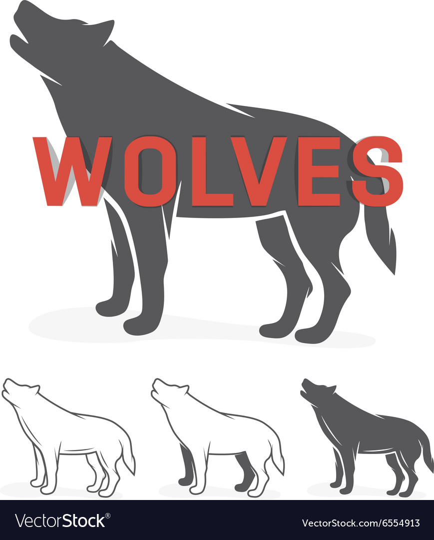 Grey wolf silhouette logo or label