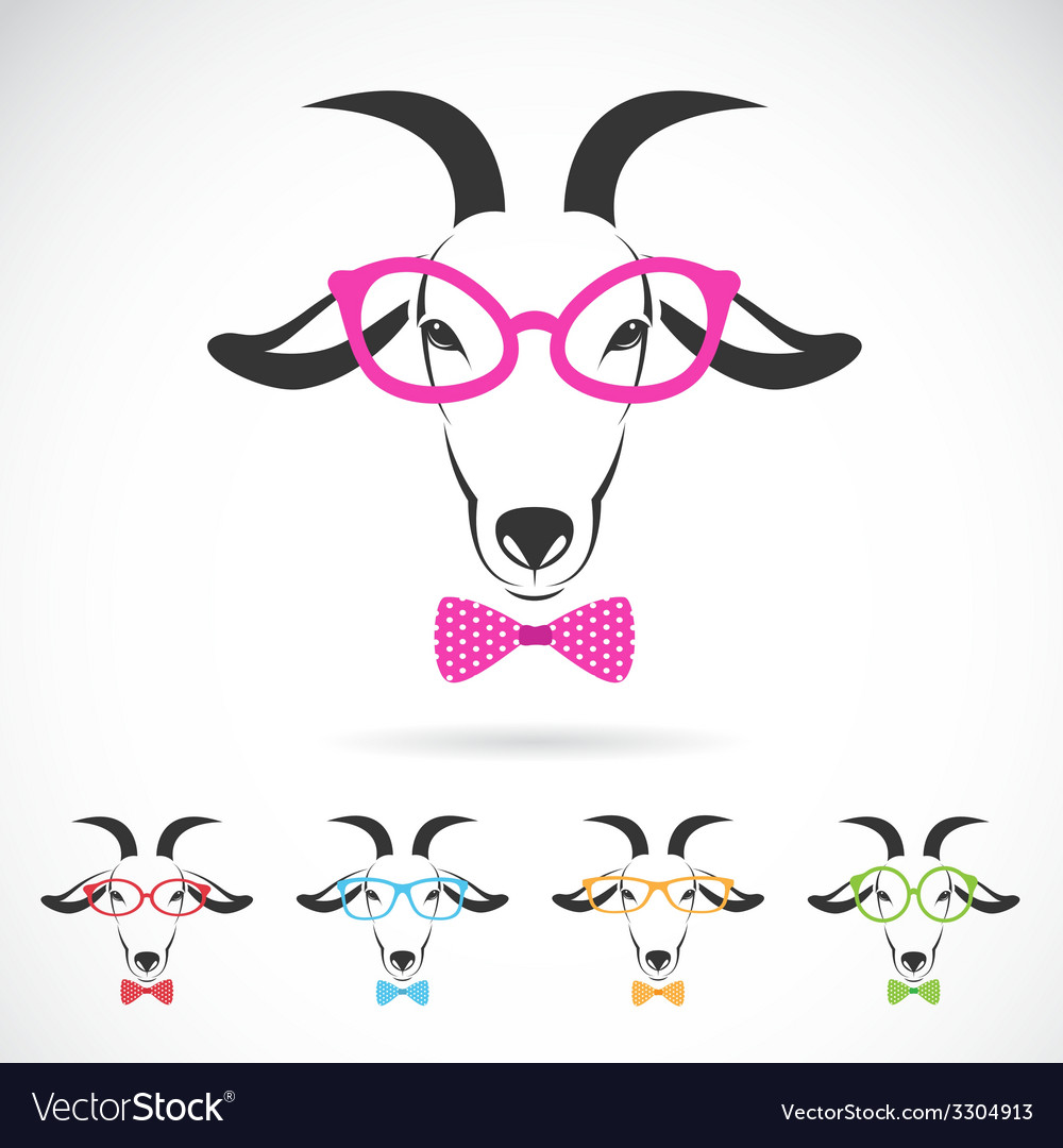 Images of a goat wearing glasses vector image