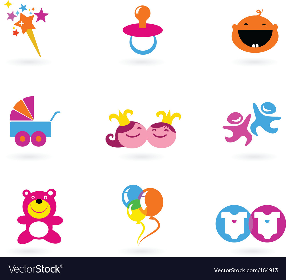 Kids Icons Playing And Toys Royalty Free Vector Image