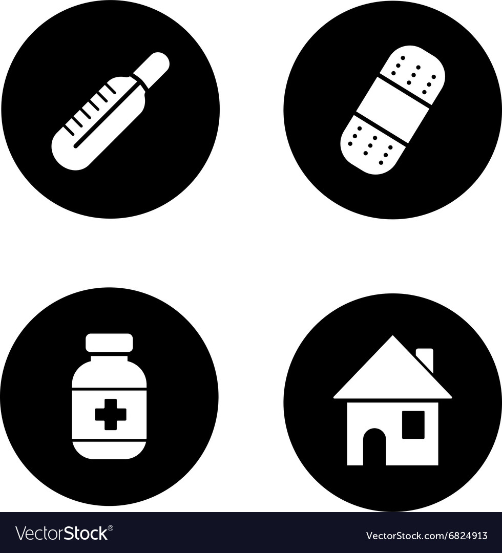 Medicine chest items black icons set