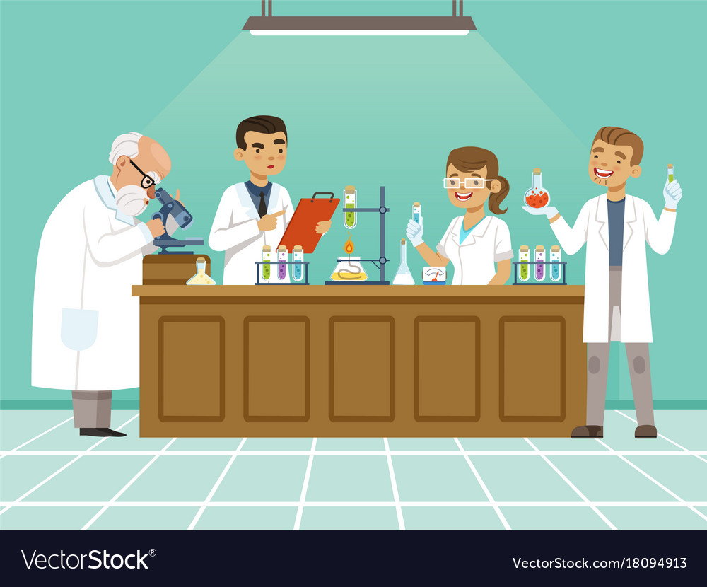 Professional chemists in their laboratory makes vector image