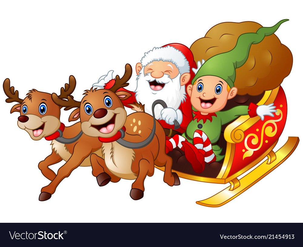 Santa and elf cartoon a riding in sled sleigh and