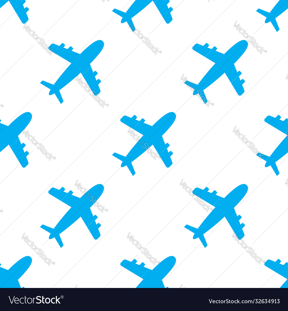 Seamless pattern with blue airplanes