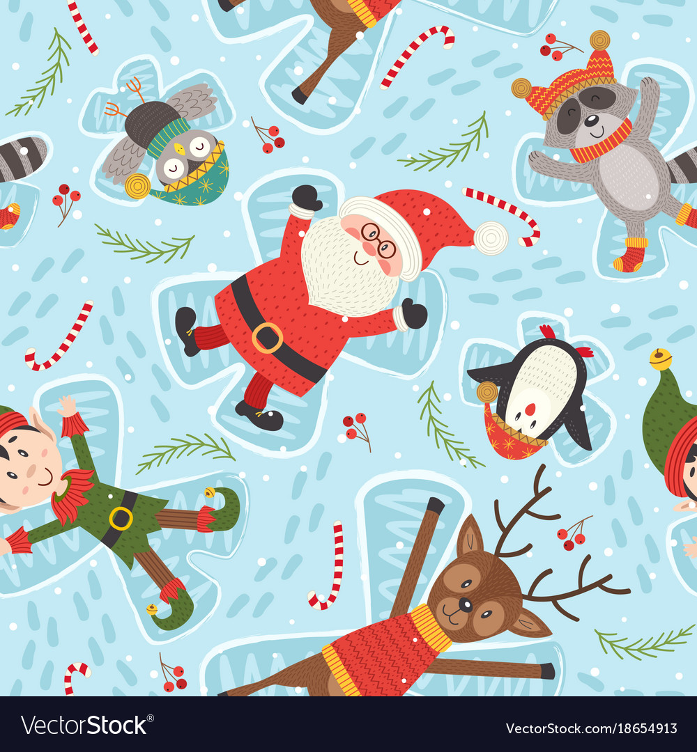 Seamless pattern with christmas characters