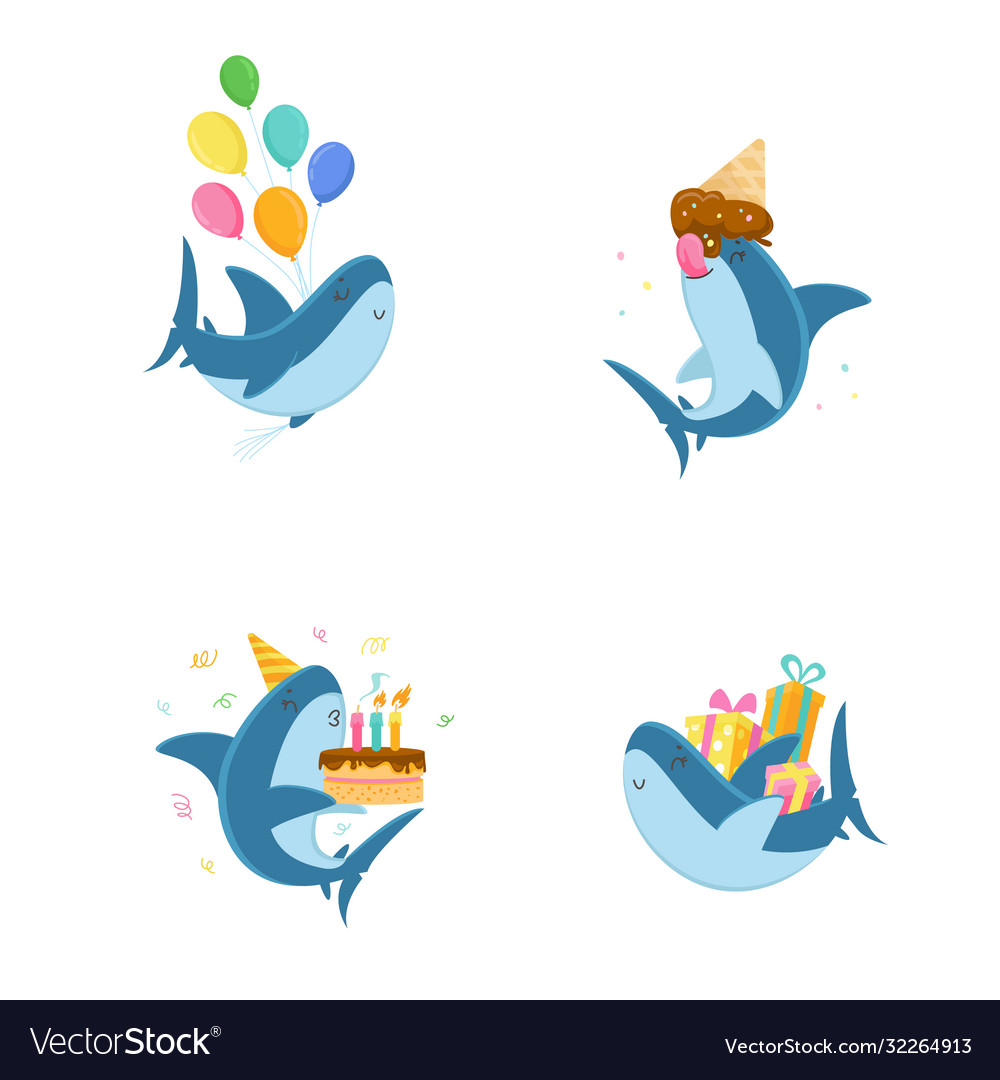 Set cute shark character with balloon eating ice