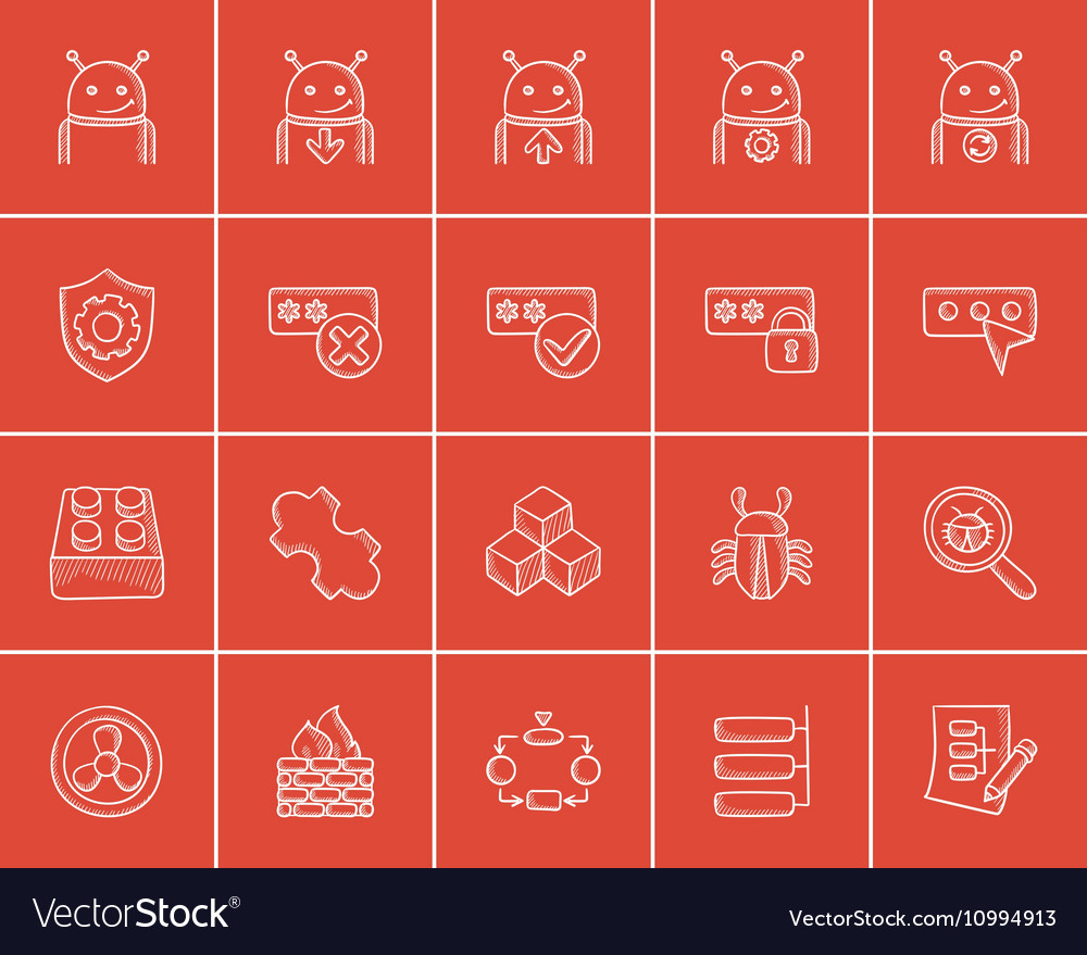 Technology sketch icon set