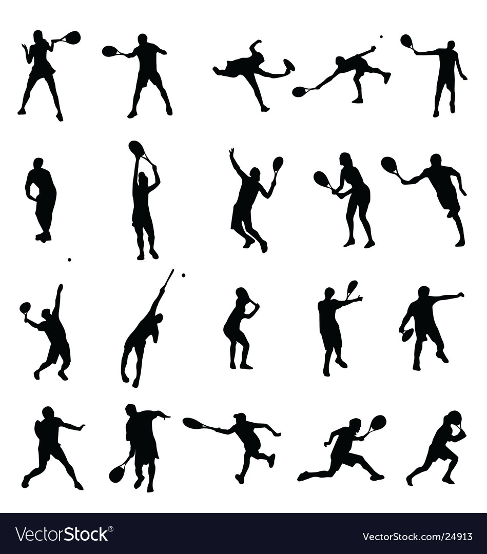 Tennis silhouettes collection vector image