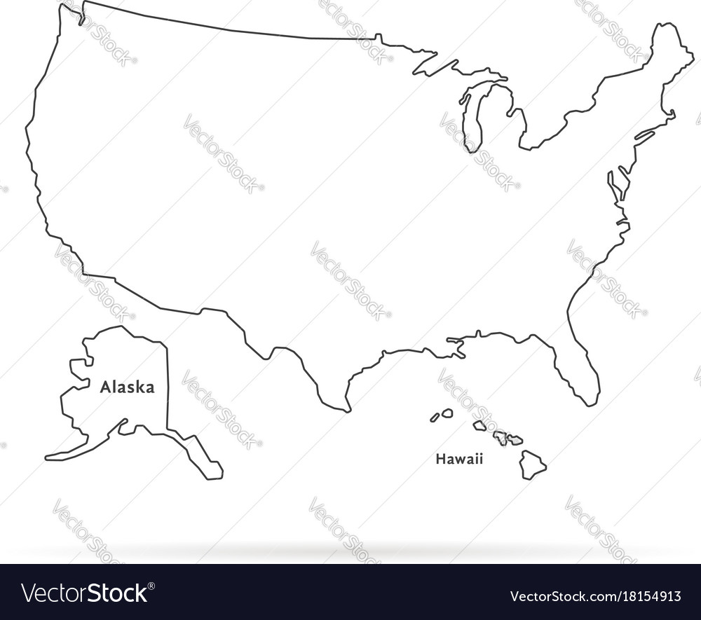 Thin line usa map with other territories and