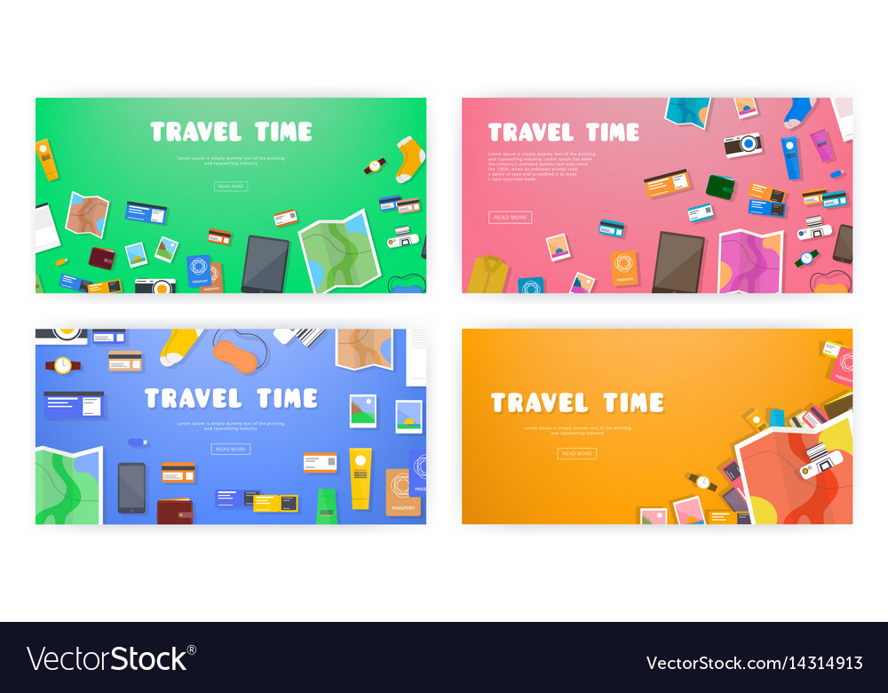 Travel time set of banners on travel vacation