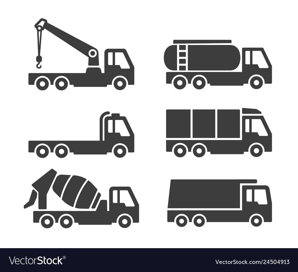 Truck container icons set