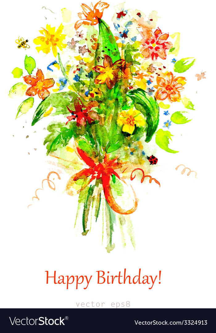 Watercolor painting bouquet flowers templa Vector Image