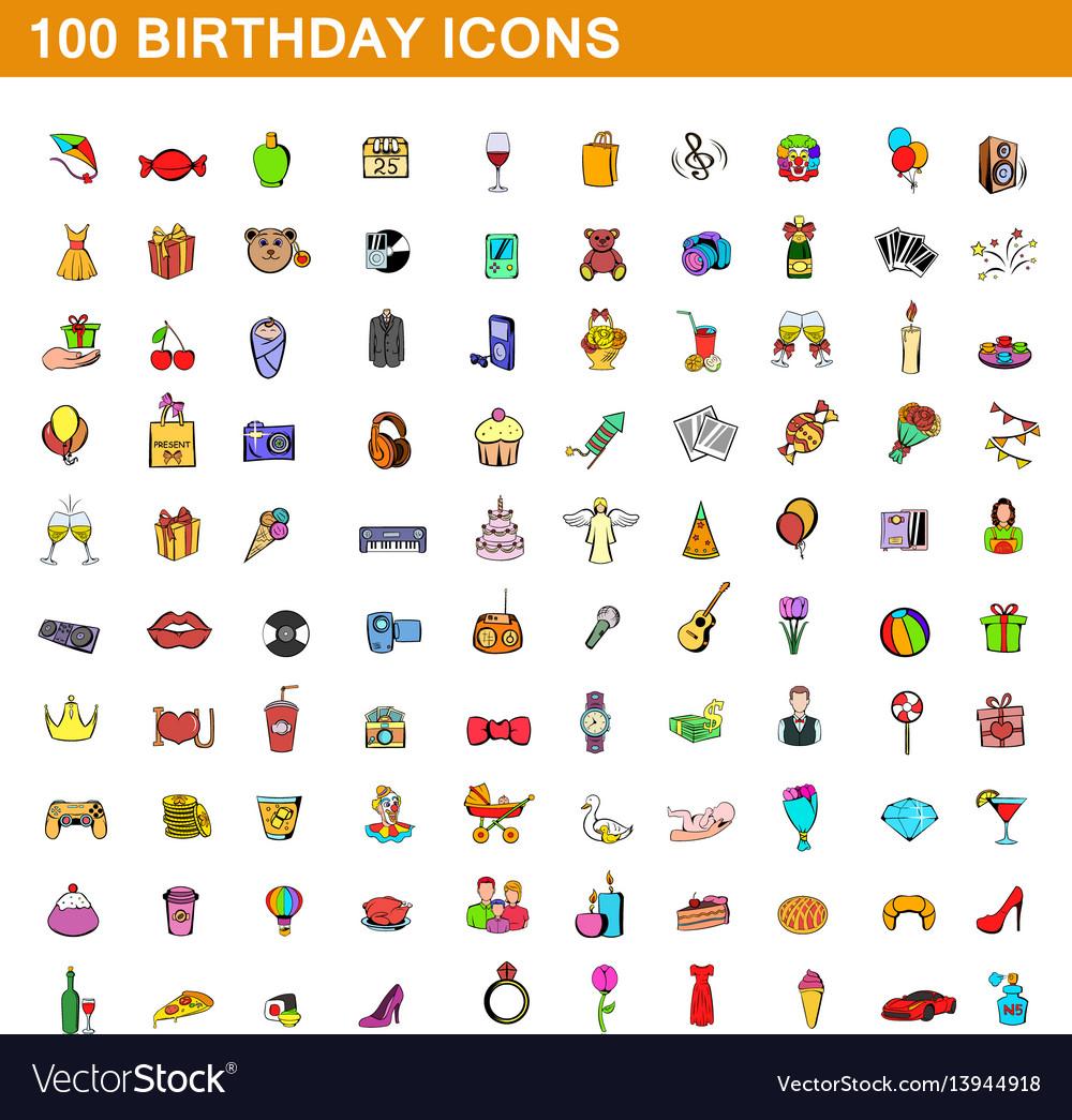 100 birthday icons set cartoon style