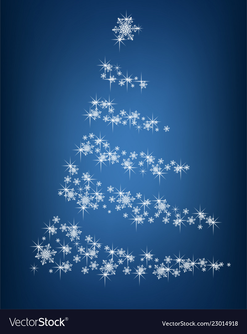 Abstract christmas tree of snowflakes and sparks