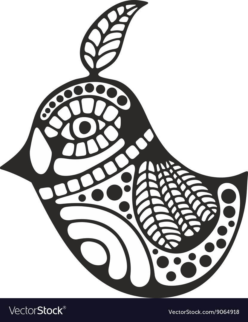 Black and white bird for coloring