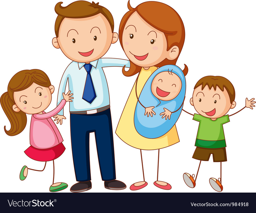 cartoon family portrait royalty free vector image rh vectorstock com cartoon family pictures free cartoon family pictures of 5