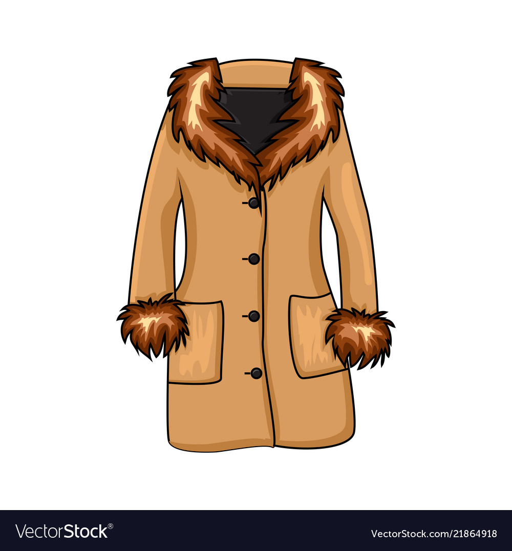 550debd9704a Cartoon fur winter coat isolated on white Vector Image