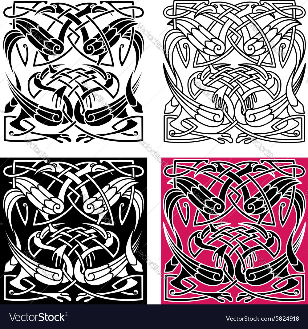Celtic knot pattern with heron birds