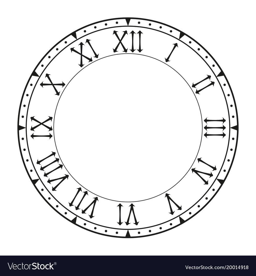 Clock face black blank clock with roman numerals