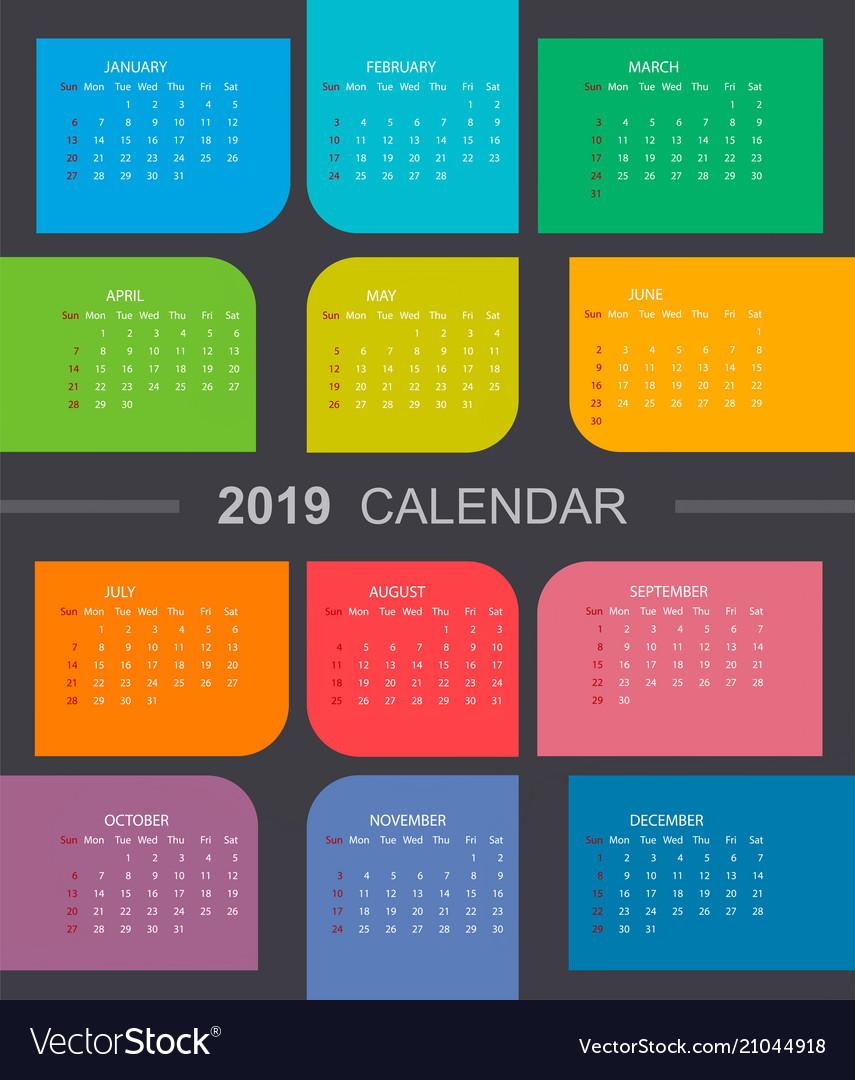 Colorful calendar 2019 week starts on sunday