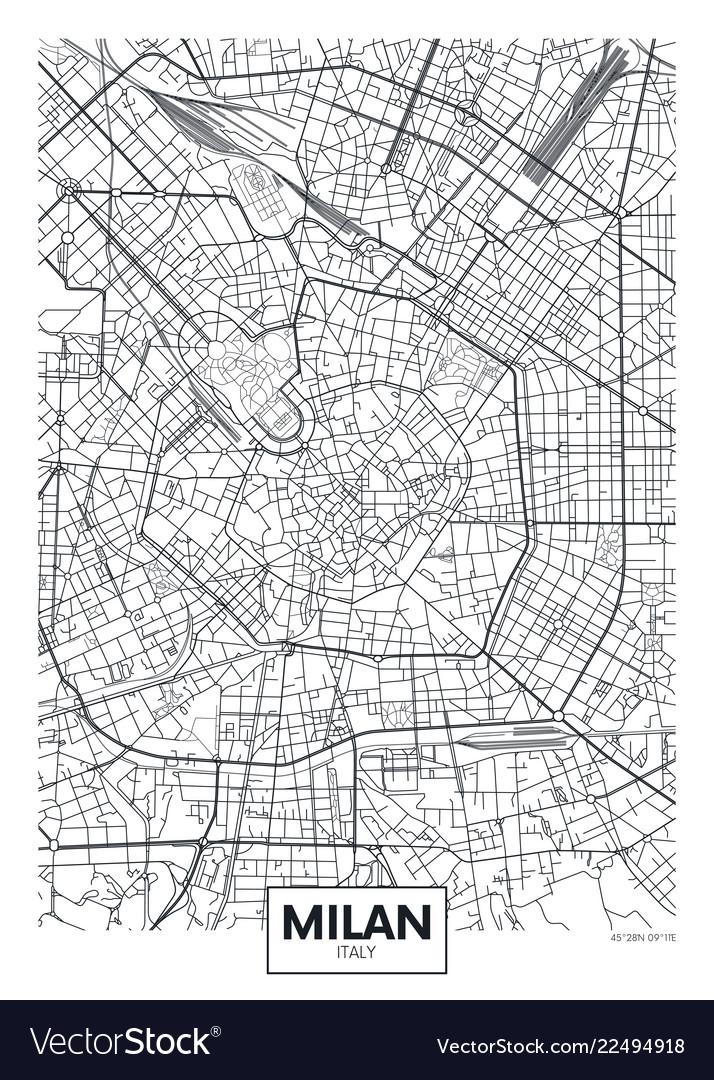 Detailed poster city map milan