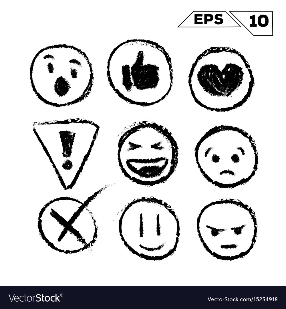 Emojis and icons hand drawn isolated on white