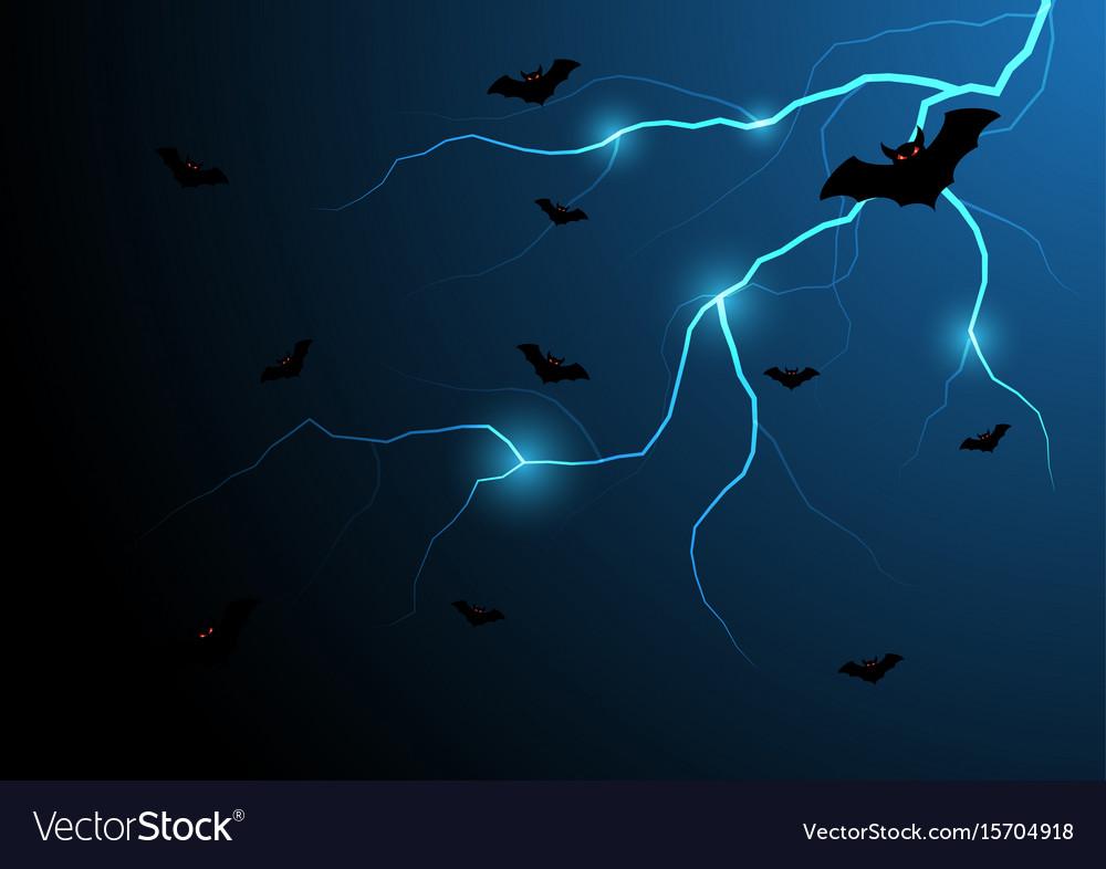 Halloween bat fly with thunderbolt and sky vector image