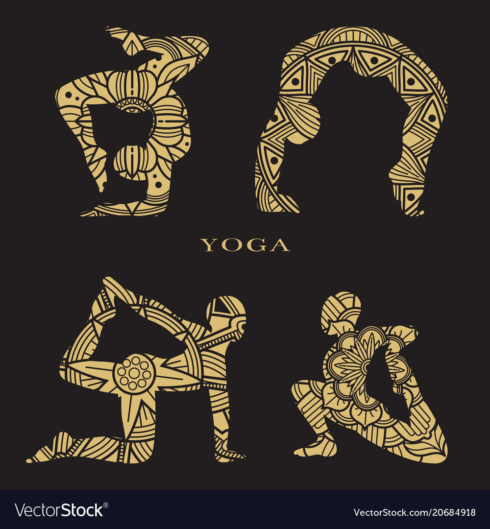 Lace female silhouettes set yoga logo elements