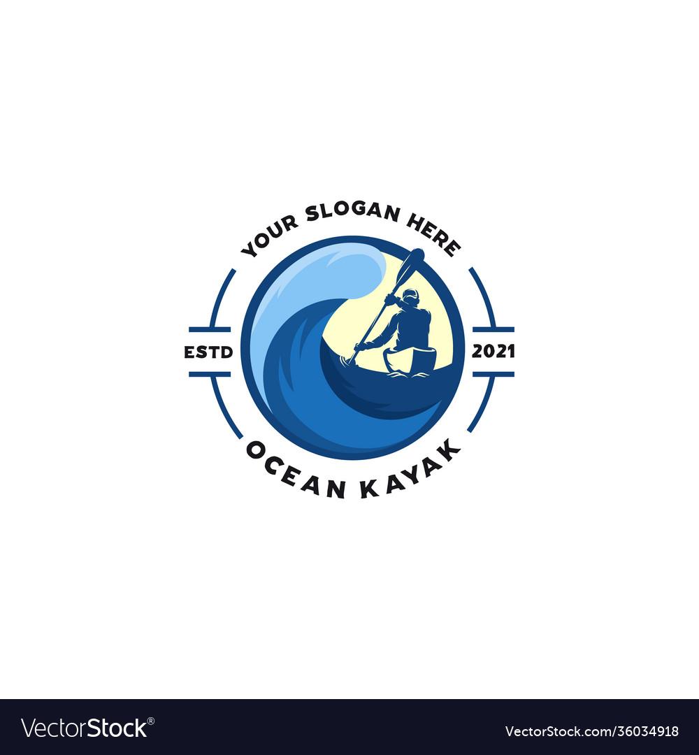 Ocean kayaking emblem logo