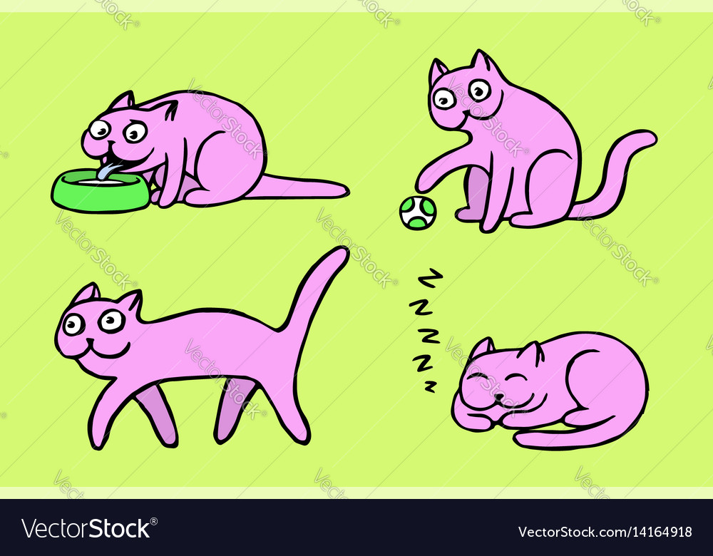 Pink pussycat emoticons set isolated vector image