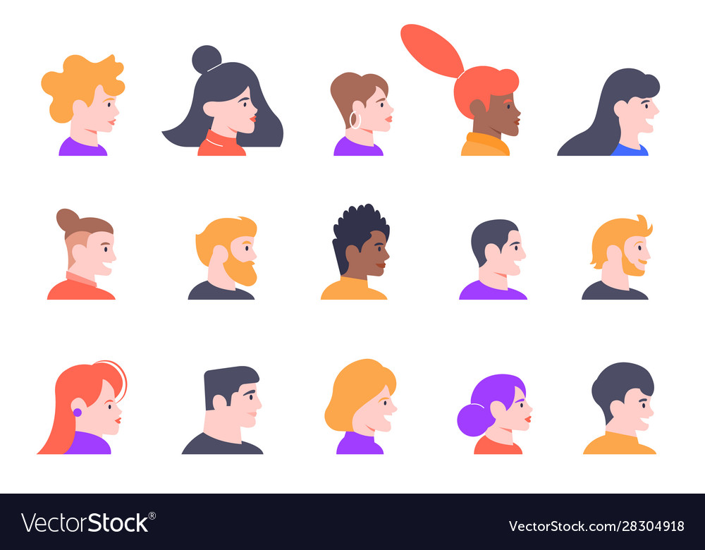 Profile people portraits face male and female