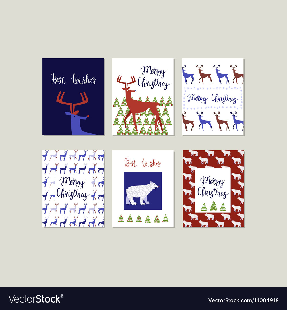 Set of Merry Christmas greeting cards with