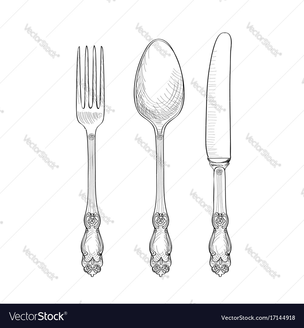 sc 1 st  VectorStock & Table setting fork knife spoon plate sketch set Vector Image