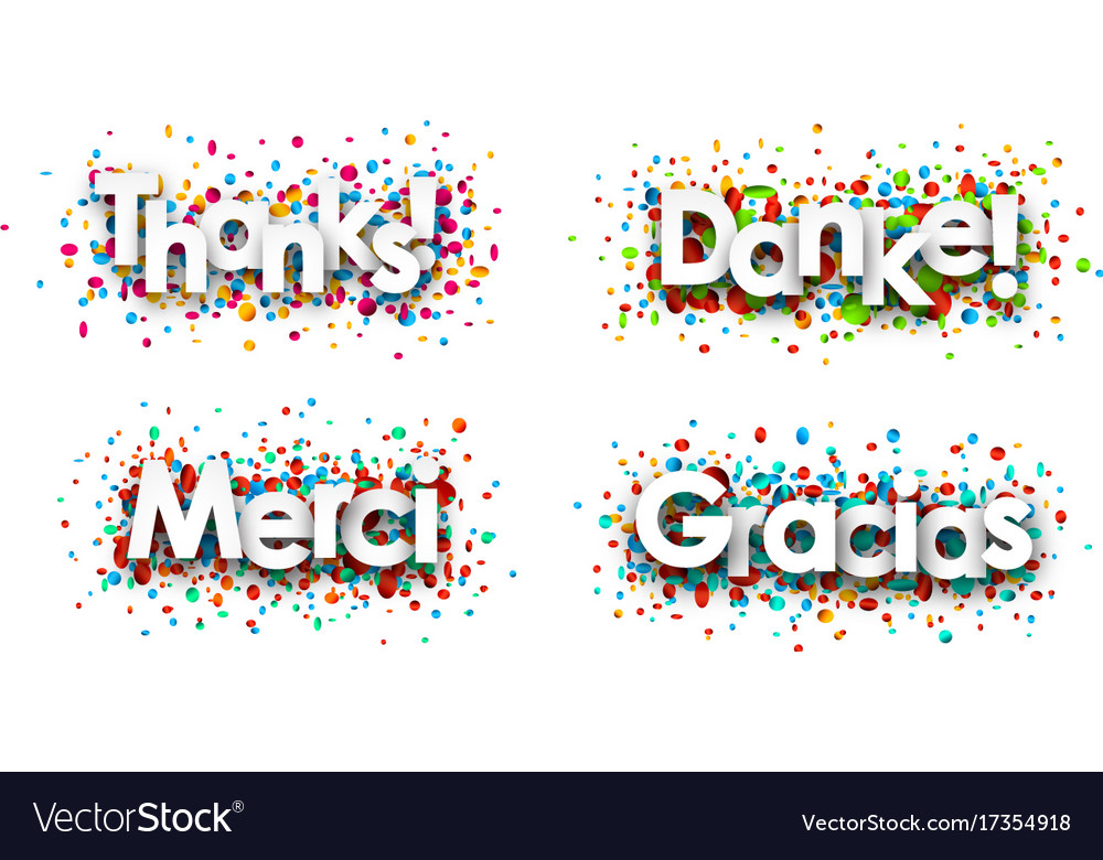 Thanks paper cards with confetti vector image