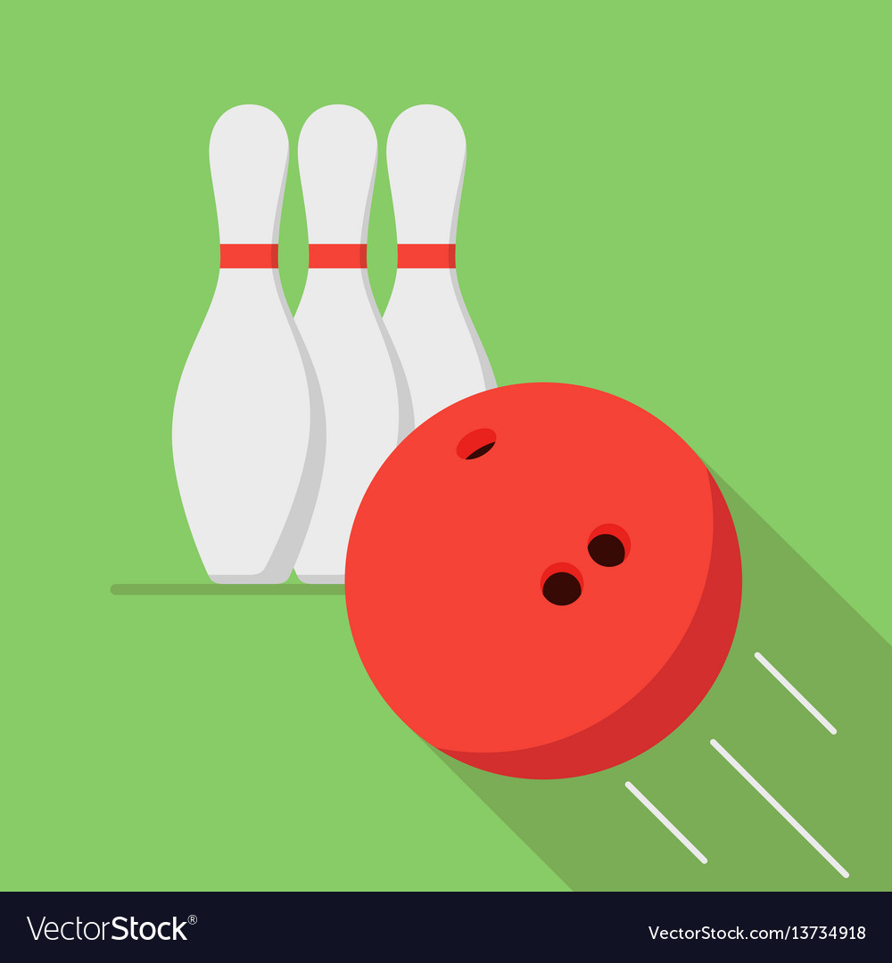 The bowling ball is moving toward the pin play of vector image