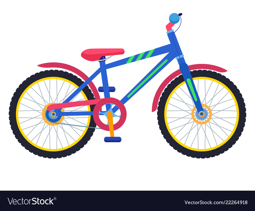 Two-wheeled colorful children bicycle