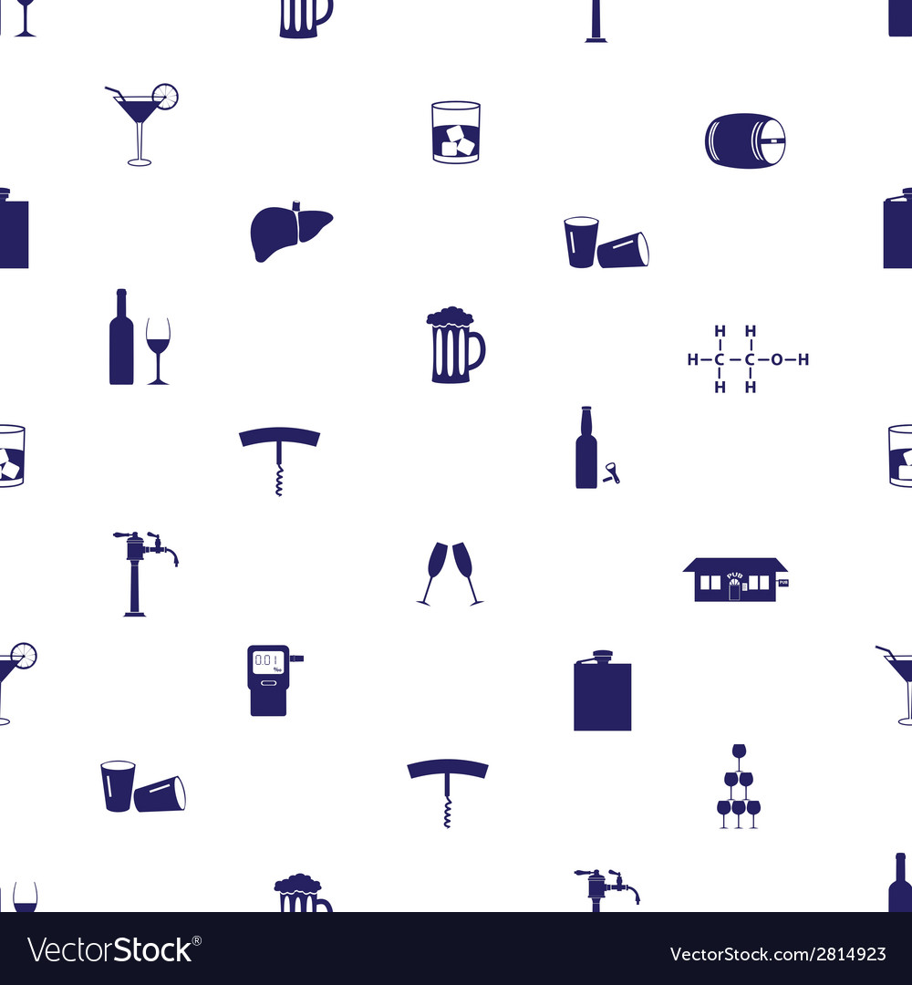 Alcohol drinks icons seamless pattern eps10 vector image