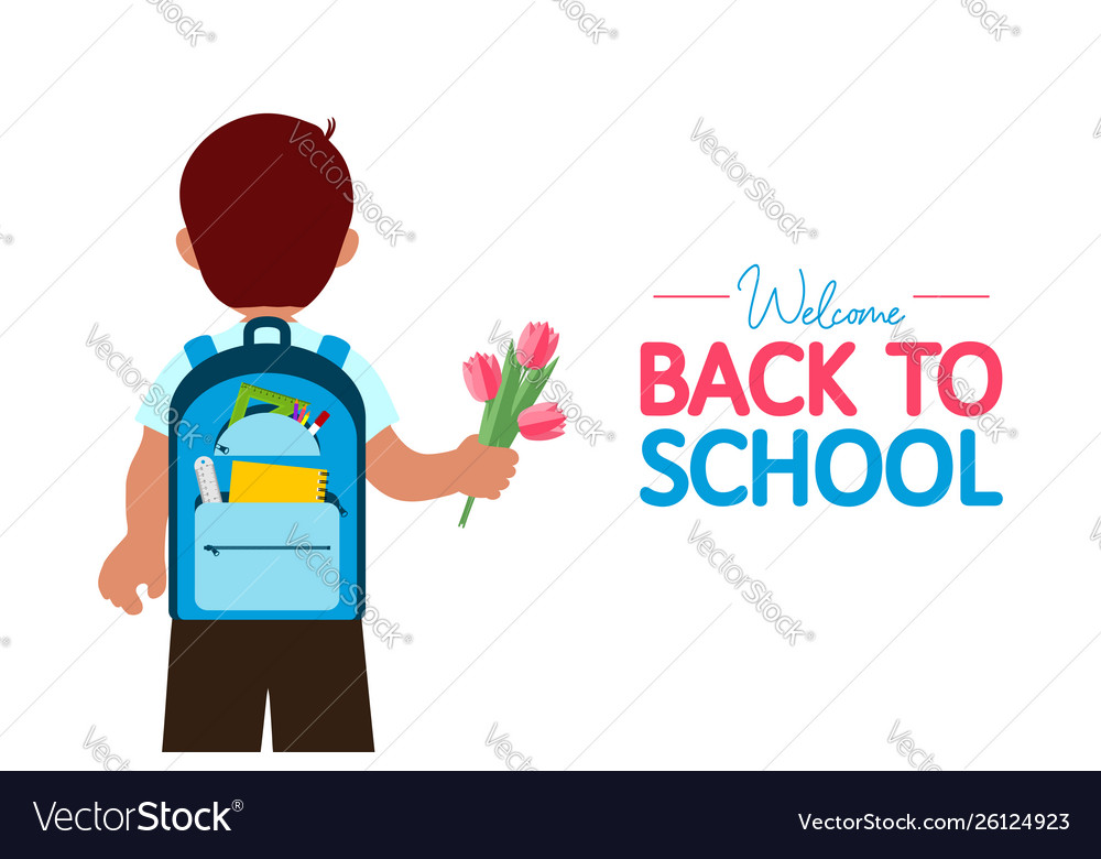 Back to school banner boy with backpack