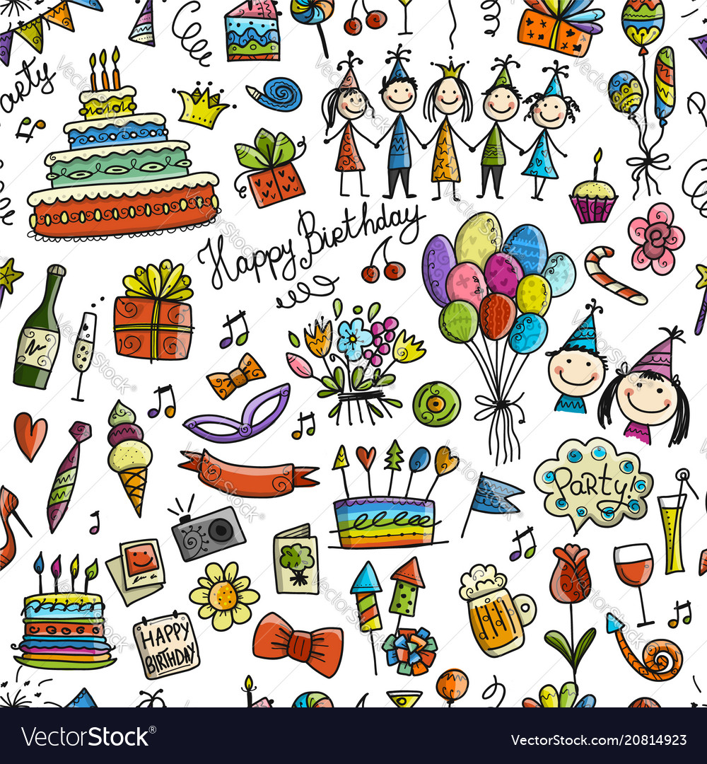 Birthday party seamless pattern for your design