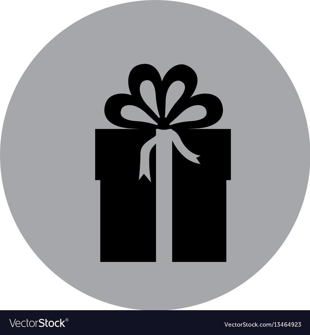 Blue emblem sticker box with bow ribbon icon